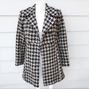 Frenchi Wool Double Breasted Houndstooth Coat